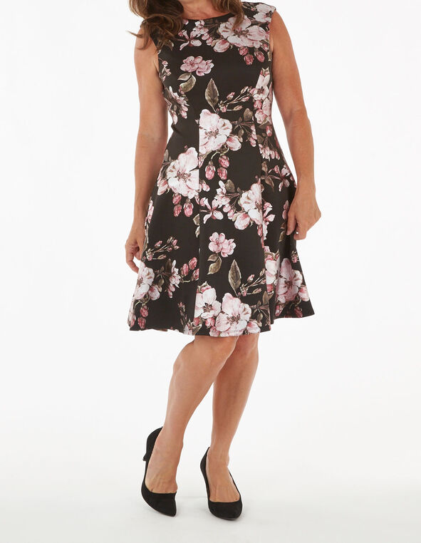 Black Floral Print Fit and Flare Dress, Black, hi-res