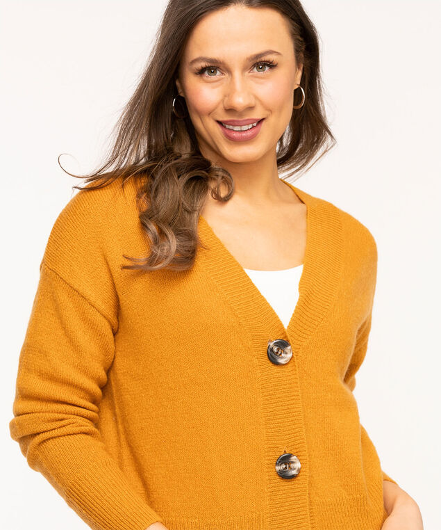Button Front V-Neck Cardigan, Gold