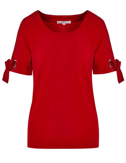 Red Crepe Top, Red, hi-res