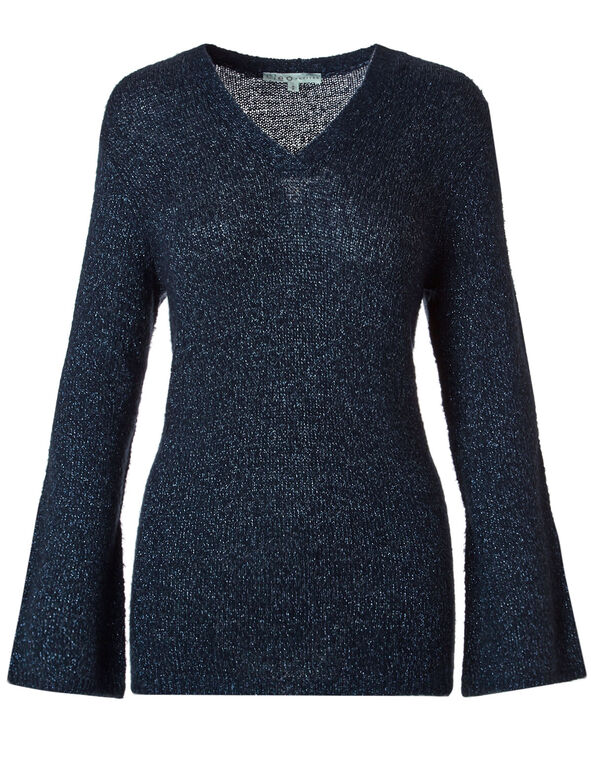 Navy V-Neckline Sweater, Navy, hi-res