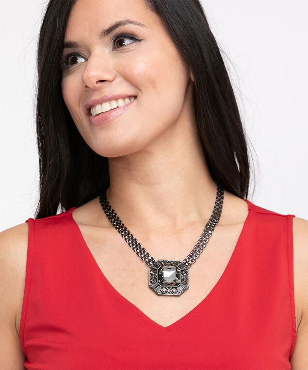 Black Crystal Pendant Necklace, Black