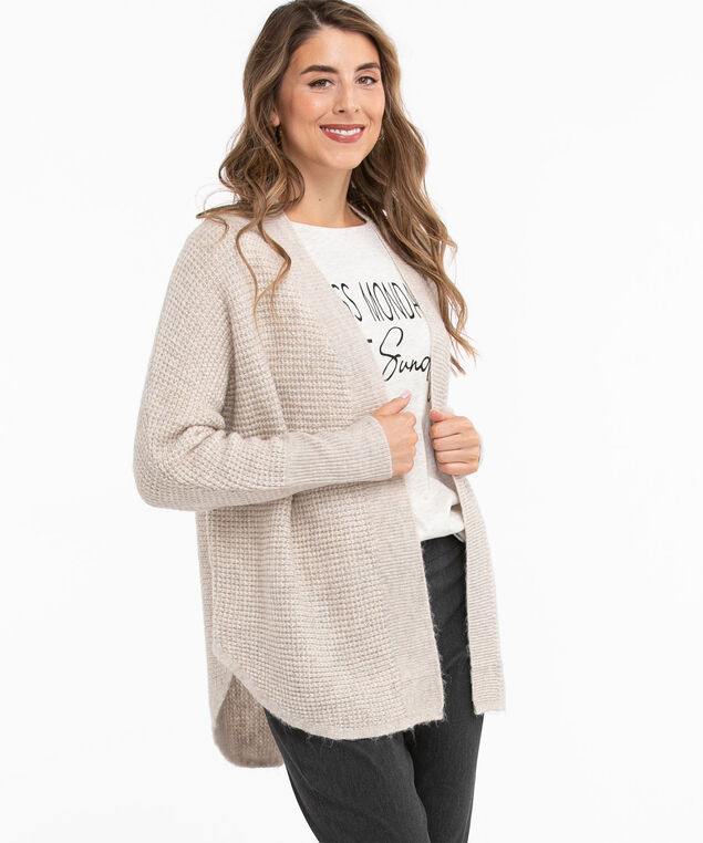 Waffle Knit Cocoon Cardigan, Natural Oatmeal Mix