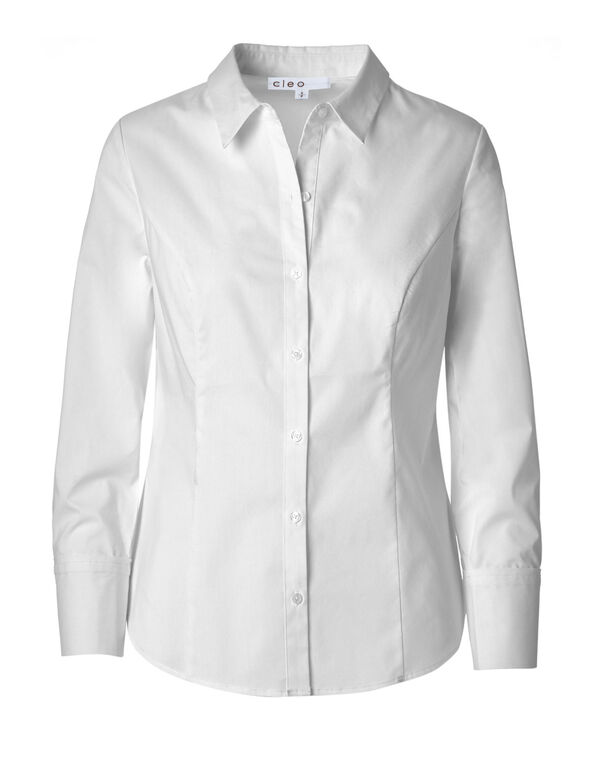 White Button Front Collared Blouse, White, hi-res