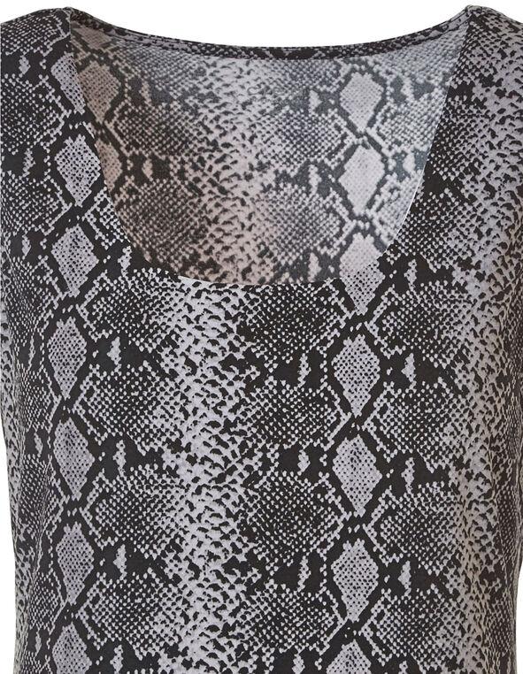 Black Snake Print Essential Layering Top, Black, hi-res
