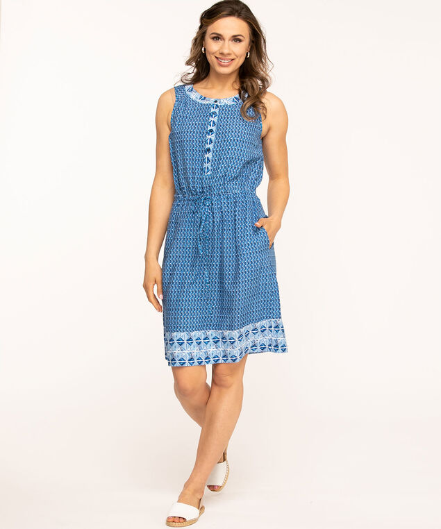 Sleeveless Button Front Printed Dress, Blue/White
