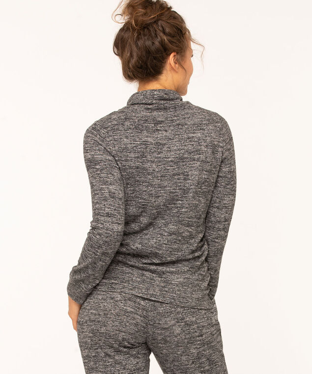 Hacchi Funnel Neck Pullover, Charcoal Mix, hi-res