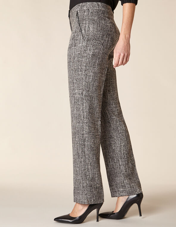 Grey Crosshatch Straight Leg Pant, Grey, hi-res