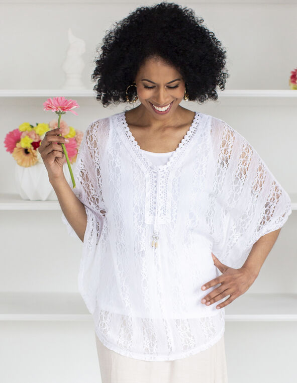 White Crochet Caftan Top, White, hi-res
