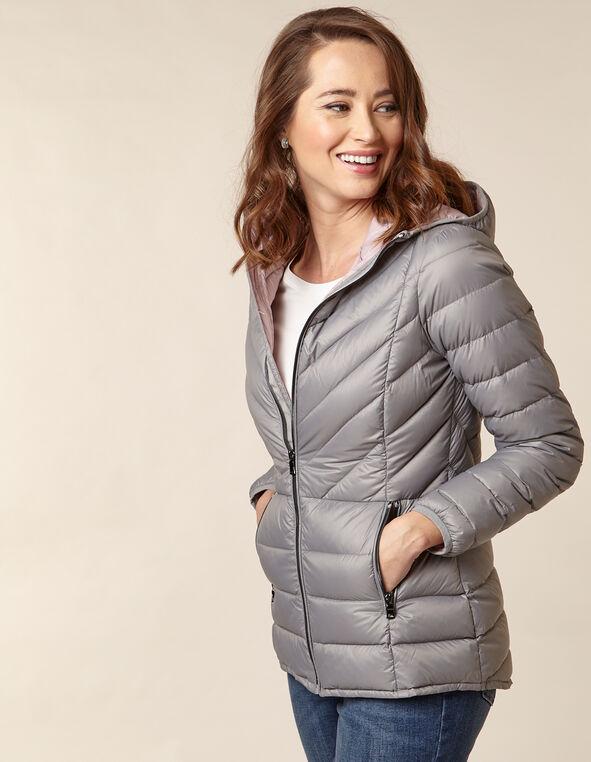 Grey Packable Down Puffer, Grey, hi-res