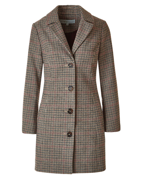 Brown Check Faux Wool Coat, Brown, hi-res