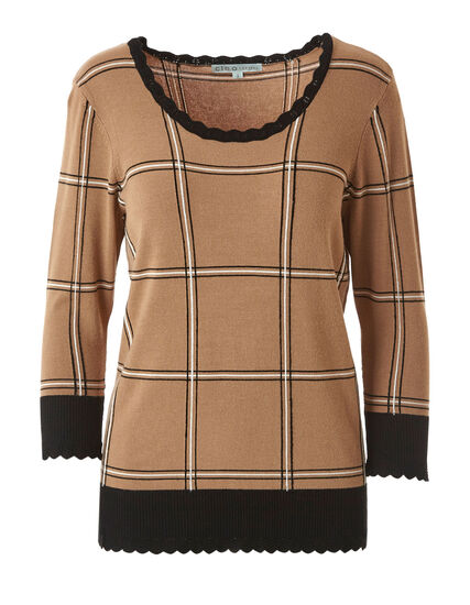Camel Scallop Edge Sweater, Camel, hi-res