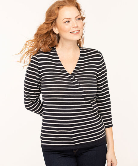 V-Neck Wrap Front Pullover Sweater, Navy/White, hi-res