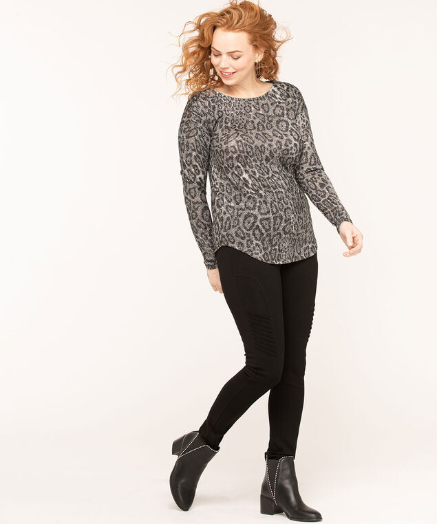 Leopard Print Lurex Top, Grey/Silver/Black, hi-res