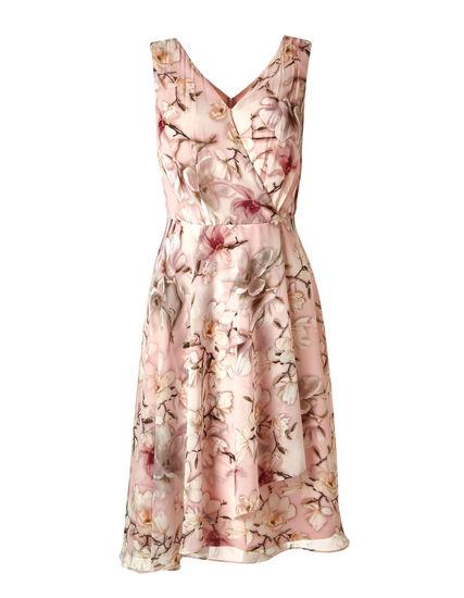 Pink Floral Fit & Flare Dress, Pink, hi-res