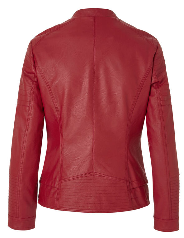 Red Mock Faux Leather Jacket, Red, hi-res