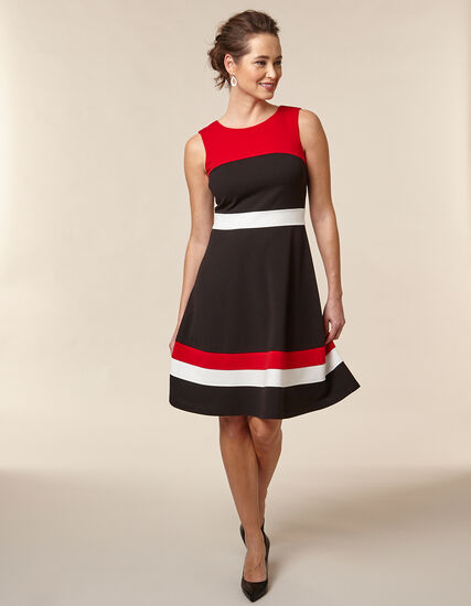Poppy Fit and Flare Dress, Black/Red/Poppy, hi-res
