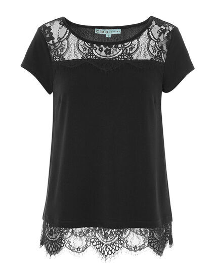 Black Lace Detail Top, Black, hi-res