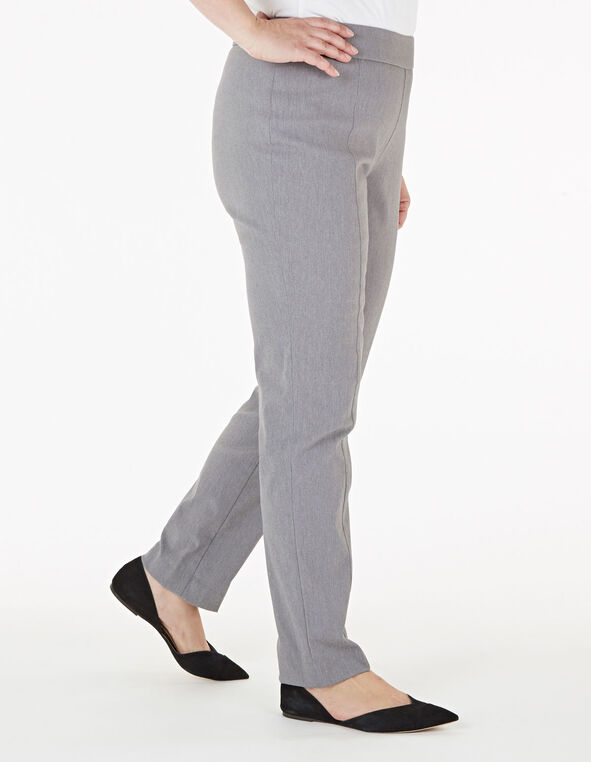 Grey Pull On Slim Pant, Grey, hi-res