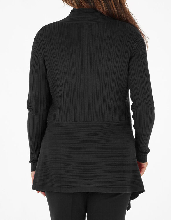 Black Buckle Rib Cardigan, Black, hi-res