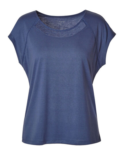 Blue Lace Detail Cap Sleeve Tee, Md Blue, hi-res