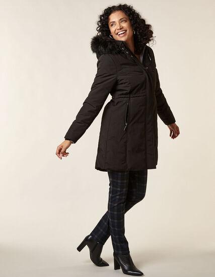 Black Anorak Faux Down Coat, Black, hi-res