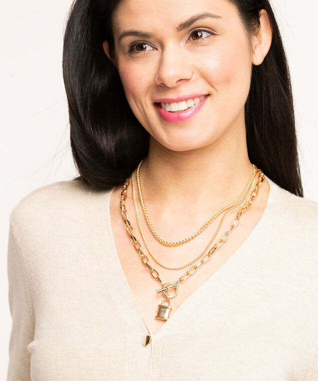 Convertible Gold Toggle Necklace, Gold