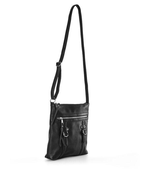 Black Flat Cross-Body Handbag, Black, hi-res