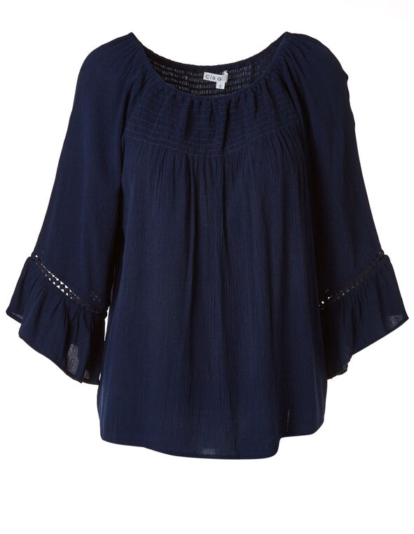 Navy Ruched Bell Sleeve Blouse, Navy, hi-res