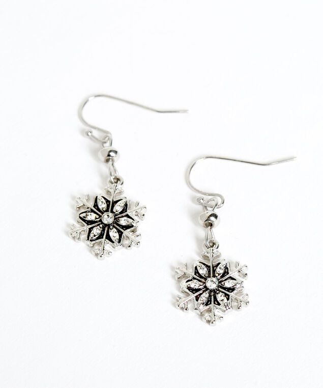 Crystal Snowflake Drop Earrings, Silver, hi-res