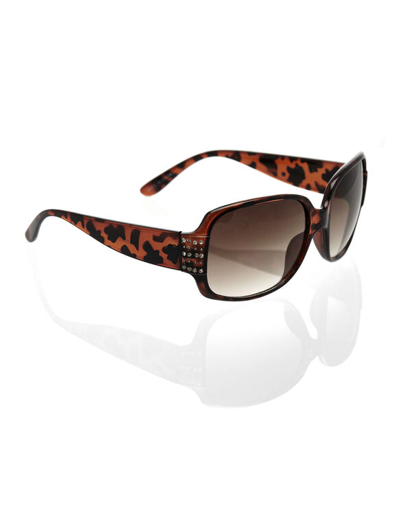 Square Tort Sunglasses, Brown, hi-res