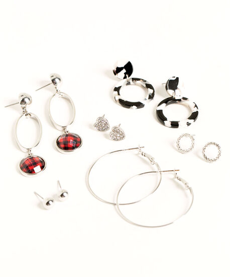 Buffalo Check Earring 6-Pack, Silver/Black/Red, hi-res