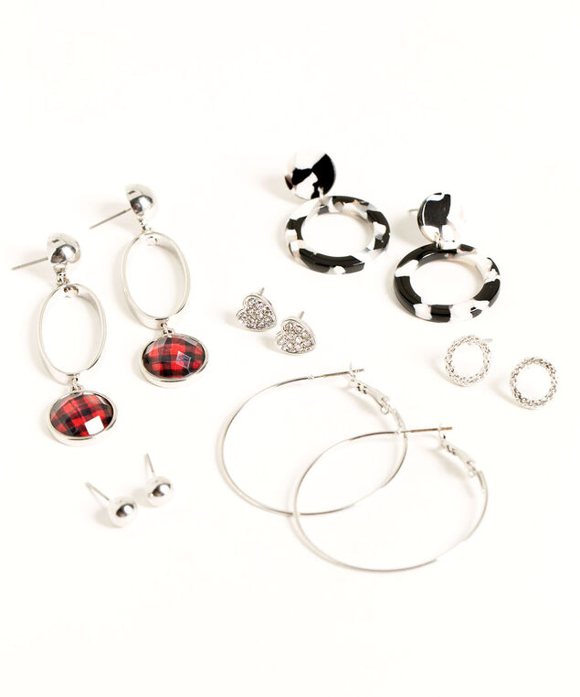 Buffalo Check Earring 6-Pack, Silver/Black/Red