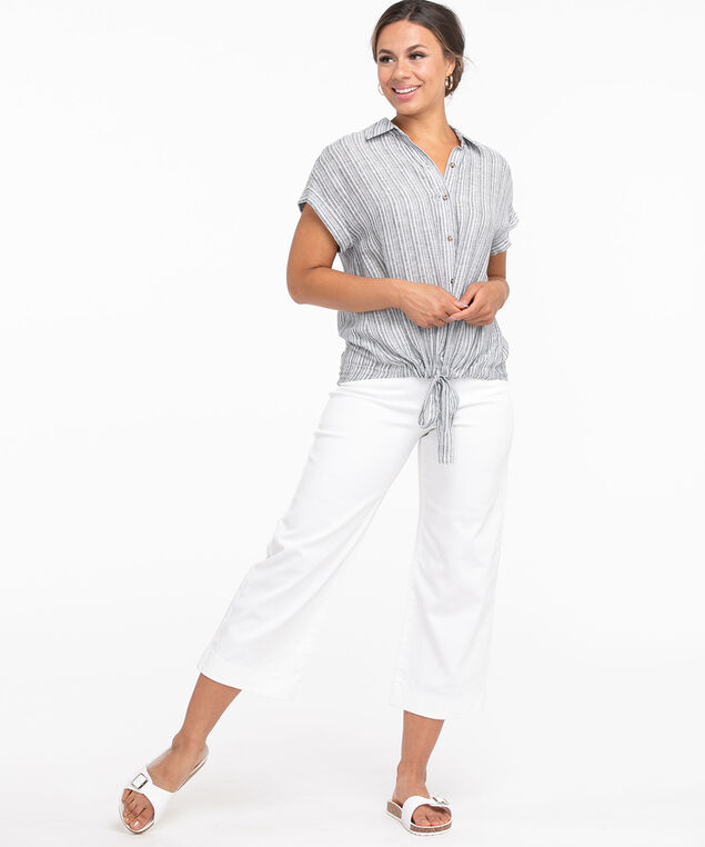 Collared Tie Front Button Blouse, Navy/White Stripe