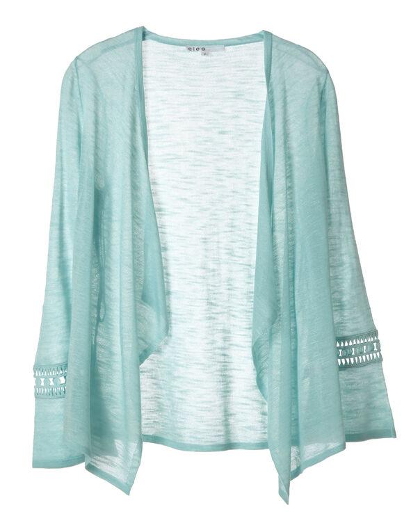 Sea Mist Crochet Sleeve Cardigan, Sea Mist, hi-res