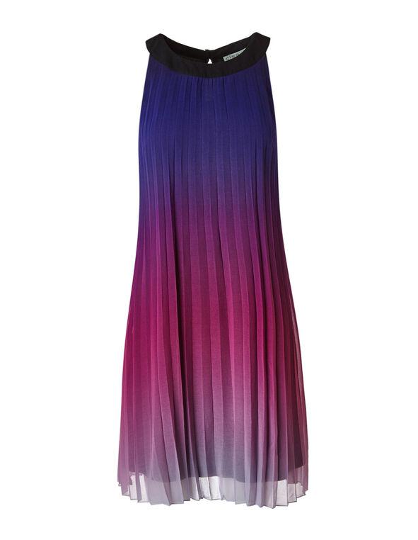Purple Ombre Pleated Shift Dress, Purple, hi-res