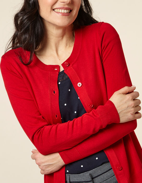 Poppy Button Front Cardigan, Red/Poppy, hi-res