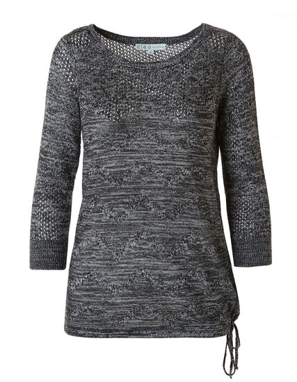 Black Drawstring Pullover Sweater, Black, hi-res