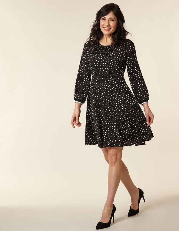 Black Polka Dot Crepe Dress, Black, hi-res