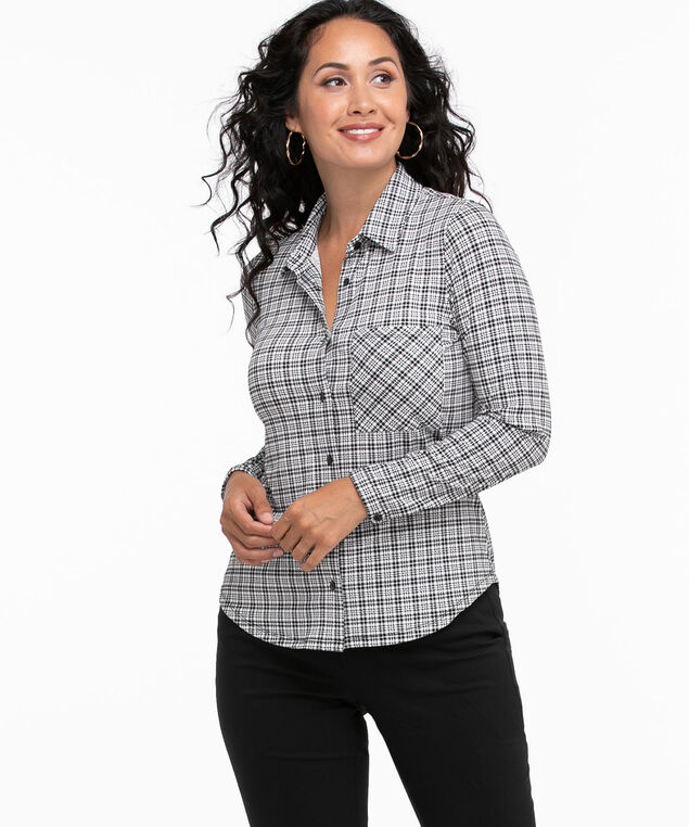 Collared Button Front Knit Top, Ivory/Black Plaid