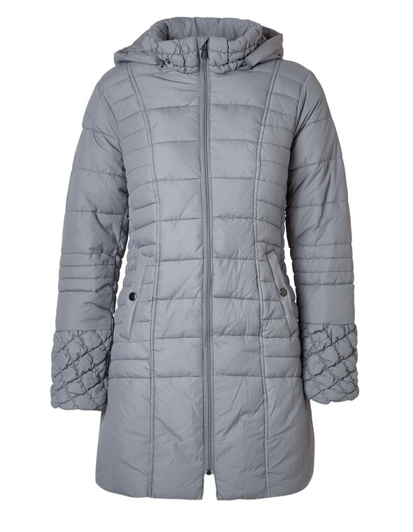 Grey Faux Down Diamond Coat, Grey, hi-res