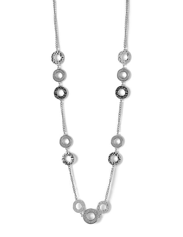 Silver Glitter Long Necklace, Silver, hi-res