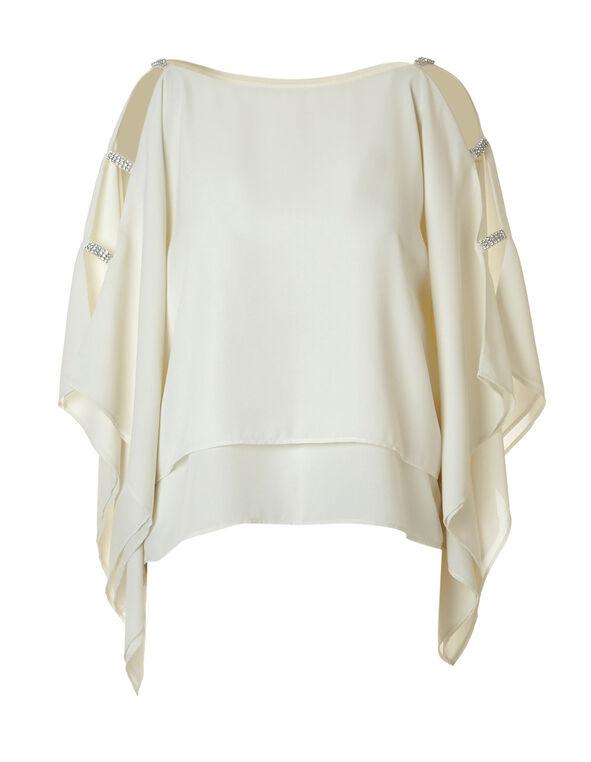 Ivory Cold Shoulder Blouse, Ivory, hi-res