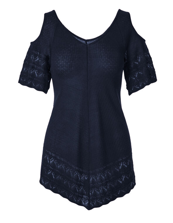 Navy Cold Shoulder Pointelle Sweater, Navy, hi-res