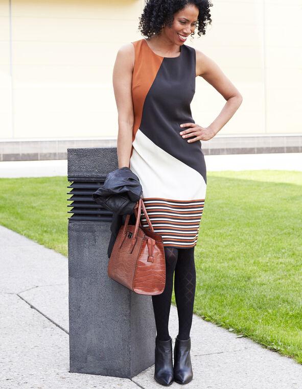 Neutral Colour Blocked Dress, Tan, hi-res