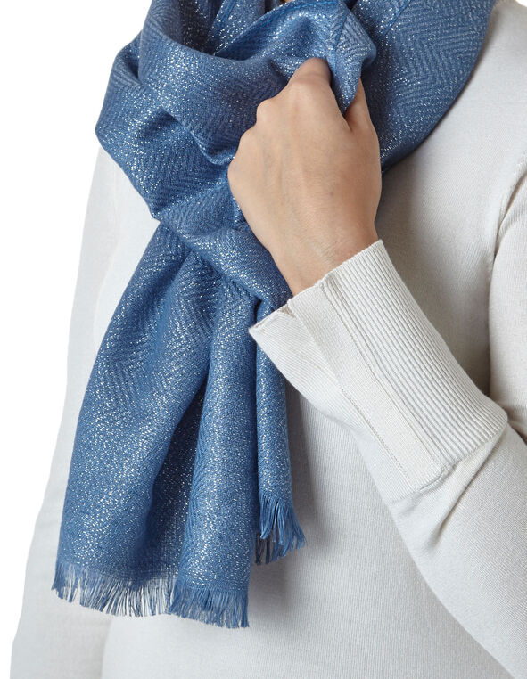 Water Lurex Pashmina Scarf, Water, hi-res