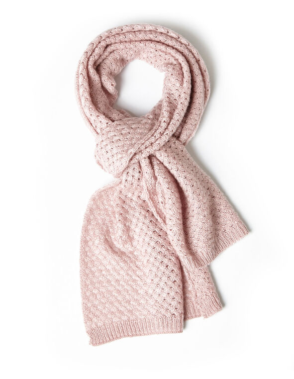 Pink Cable Knit Scarf, Pink, hi-res