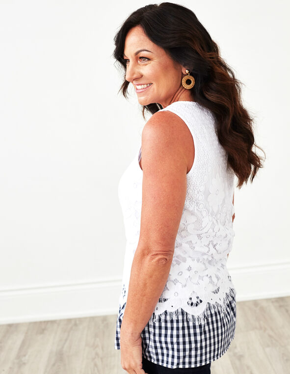 White Lace Gingham Hem Top, White, hi-res