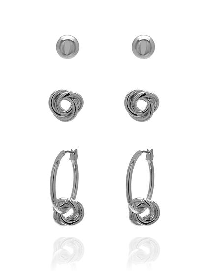 Silver Knot Earring Set, Silver, hi-res