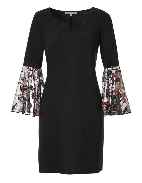 Black Floral Bell Sleeve Dress, Black, hi-res