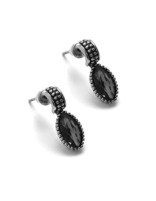 Black Diamond Earring, Black, hi-res